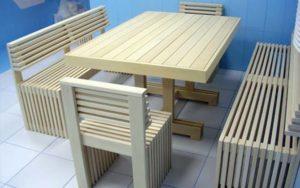 Лавки и стол для комнаты отдыха